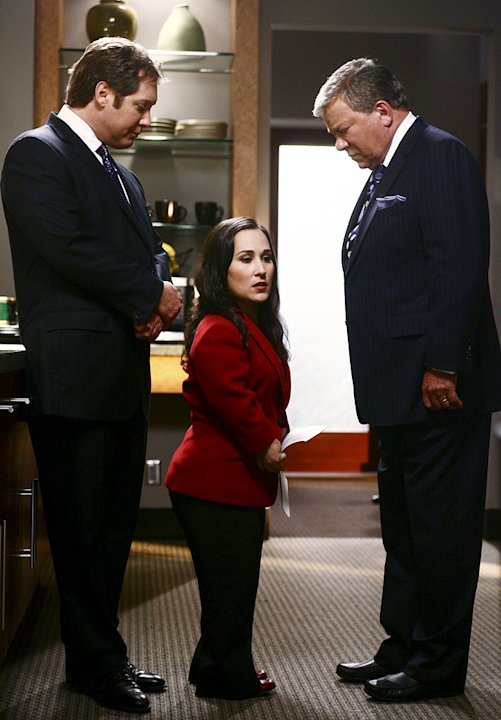 A scene from Boston Legal on ABC.  Picturing James Spader, Meredith Eaton, and William Shatner.