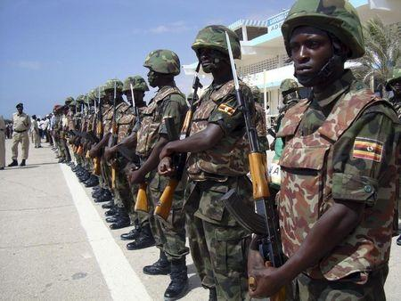 African Union peacekeeping soldiers parade during arrival of Somalia's new president Ahmed in capital Mogadishu