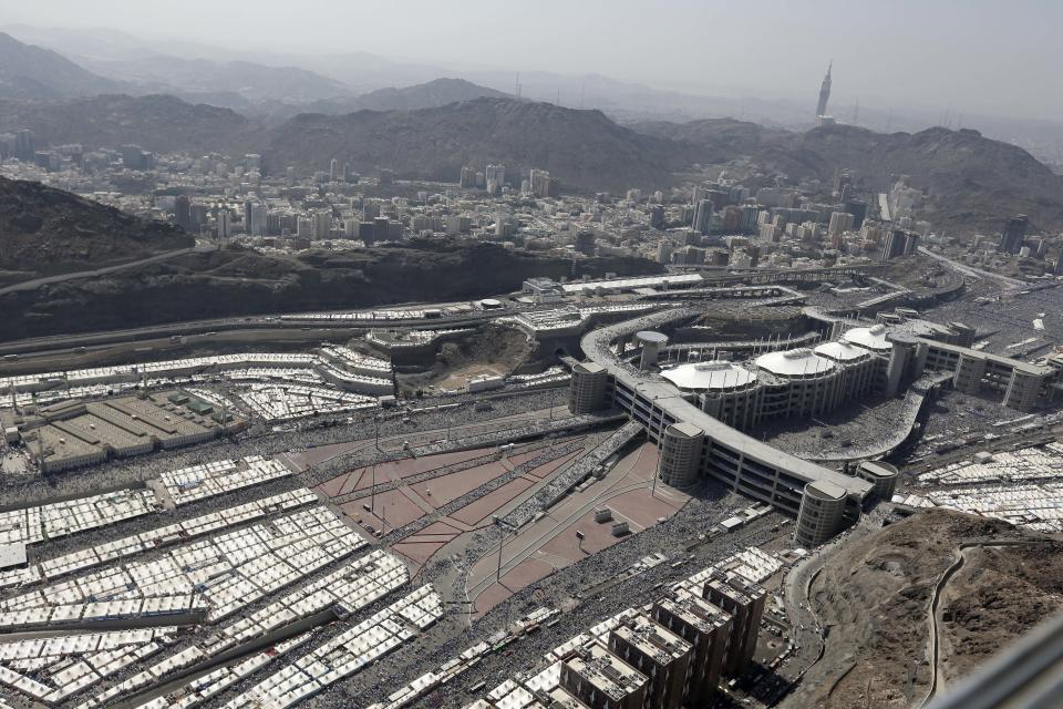 This aerial image made from a helicopter shows thousands of tents housing Muslim pilgrims crowded together in Mina, during the annual Hajj in the Saudi holy city of  Mecca, Saudi Arabia, Saturday, Oct. 27, 2012. (AP Photo/Hassan Ammar)