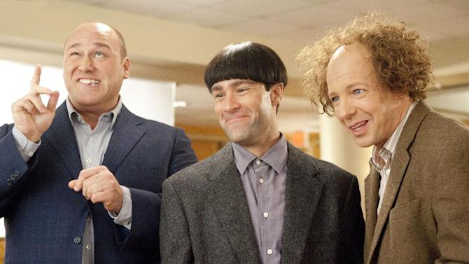 """In this image released by 20th Century Fox, from left, Will Sasso, Chris Diamantopoulos, and Sean Hayes are shown in a scene from """"The Three Stooges."""" (AP Photo/20th Century Fox, Peter Iovino)"""
