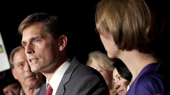 FILE - In this Nov. 6, 2012 file photo, Sen.-elect Martin Heinrich, D-N.M.,speaks to supporters in Albuquerque, N.M. (AP Photo/Craig Fritz, File)