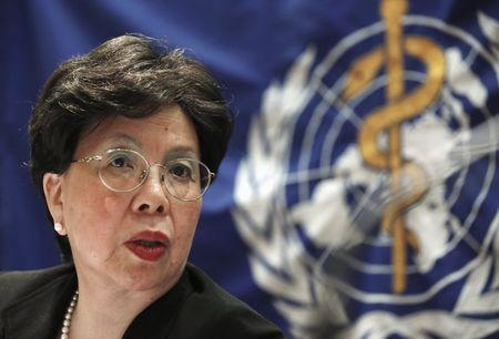 WHO Director-General Margaret Chan listens to a reporter's question during a news conference in Seoul