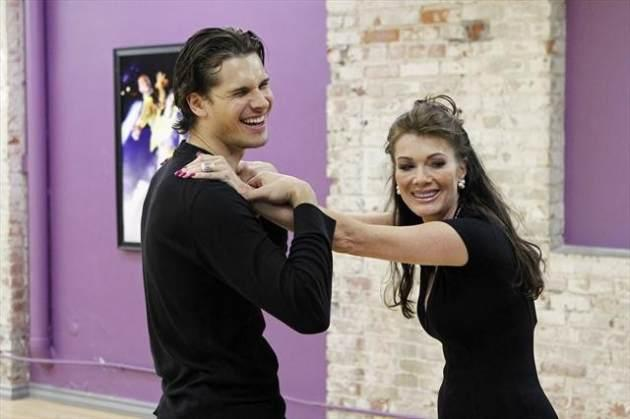 Gleb Savchenko and Lisa Vanderpump share a laugh as they rehearse for Season 16 of 'Dancing with the Stars,' 2013 -- ABC