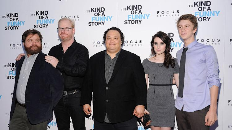 Its kind of a funny story NYC premiere 2010 Zach Galifianakis Jim Gaffigan Adrian Martinez Emma Roberts Thomas Mann