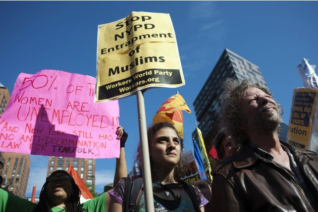 Demonstrators participate in an Occupy Wall Street rally in Union Square Park on May Day in New York