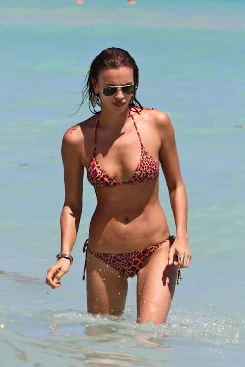 Models Irina Shayk and Anne Vyalitsyna at the beach in Miami