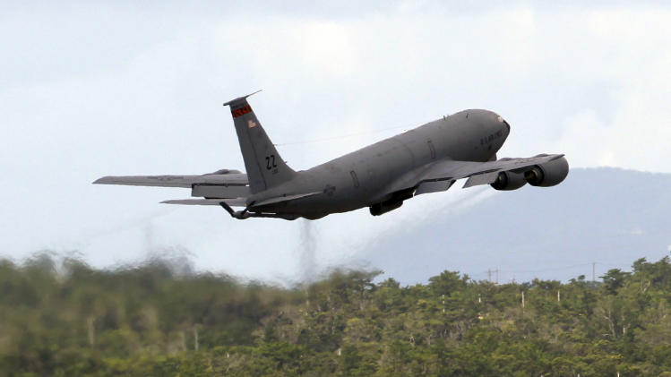 In this Aug. 14, 2012 photo, a U.S. Air Force KC-135 Stratotanker, built in 1960, takes off at Kadena Air Base on Japan's southwestern island of Okinawa. For decades, the U.S. Air Force has grown accustomed to such superlatives as unrivaled and unbeatable. Now some of its key aircraft are being described with terms like decrepit.  (AP Photo/Greg Baker)