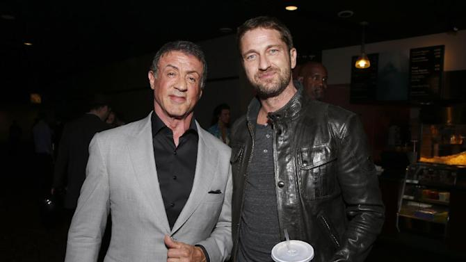 IMAGE DISTRIBUTED FOR MILLENNIUM - Sylvester Stallone, left, and Gerard Butler attend the DeLeon Tequila Premiere of The Iceman at the Arclight on Monday, April 22, 2013 in Los Angeles. (Photo by Todd Williamson/Invision for Millennium/AP Images)