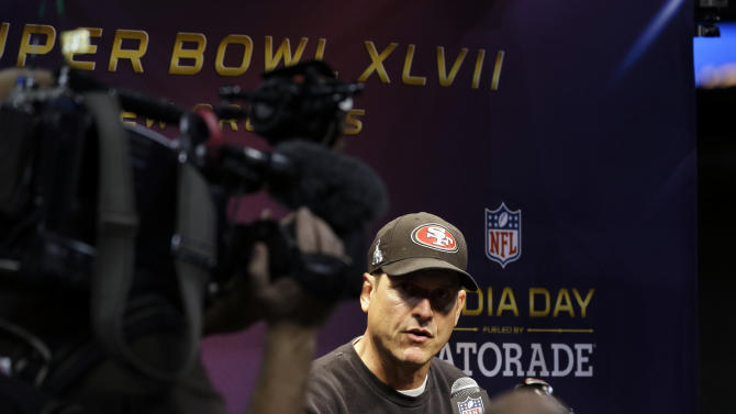 San Francisco 49ers head coach Jim Harbaugh answers a question during media day for the NFL Super Bowl XLVII football game Tuesday, Jan. 29, 2013, in New Orleans. (AP Photo/David J. Phillip)