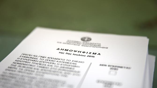"A ballot reads ""Referendum of the 5th of July 2015"" at an Athens high school that will be used as a polling station for Sunday's referendum in Greece"