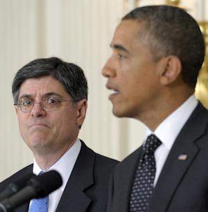 FILE - This Jan. 9, 2012, file photo shows then-Budget Director Jack Lew listening as President Barack Obama speaks in the State Dining Room of the White House in Washington. Lew, the current White House chief of staff  is President Barack Obama's expected pick to lead the Treasury Department, with an announcement possible before the end of the week.  (AP Photo/Susan Walsh, File)