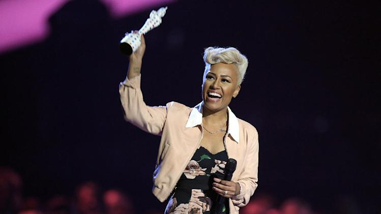 Emeli Sande seen on stage after winning the British Album of the Year award during the BRIT Awards 2013 at the o2 Arena in London on Wednesday, Feb. 20, 2013. (Photo by Joel Ryan/Invision/AP)