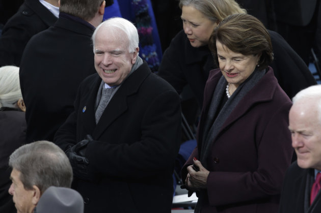 Sen. John McCain, R-Az., and Sen. Dianne Feinstein, D-Calif., arrive for the ceremonial of President Barack Obama swearing-in at the U.S. Capitol during the 57th Presidential Inauguration in Washingto