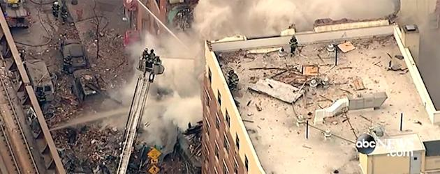 Partial building collapse and fire in New York City (
