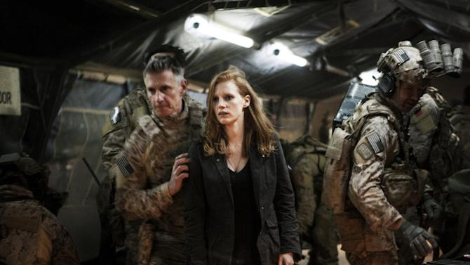 """In this undated publicity photo released by Columbia Pictures Industries, Inc., Jessica Chastain, center, plays a member of the elite team of spies and military operatives, stationed in a covert base overseas, with Christopher Stanley, left, and Alex Corbet Burcher, right, who secretly devote themselves to finding Osama Bin Laden in Columbia Pictures' new thriller, """"Zero Dark Thirty."""" Best-picture prospects for Oscar Nominations on Thursday, Jan. 10, 2013, include, """"Lincoln,"""" directed by Steven Spielberg; """"Zero Dark Thirty,"""" directed by Kathryn Bigelow; """"Les Miserables,"""" directed by Tom Hooper; """"Argo,"""" directed by Ben Affleck; """"Django Unchained,"""" directed by Quentin Tarantino; and """"Life of Pi,"""" directed by Ang Lee. (AP Photo/Columbia Pictures Industries, Inc., Jonathan Olley)"""
