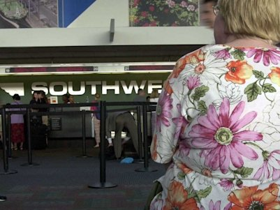 fat obese woman southwest airlines airport plane