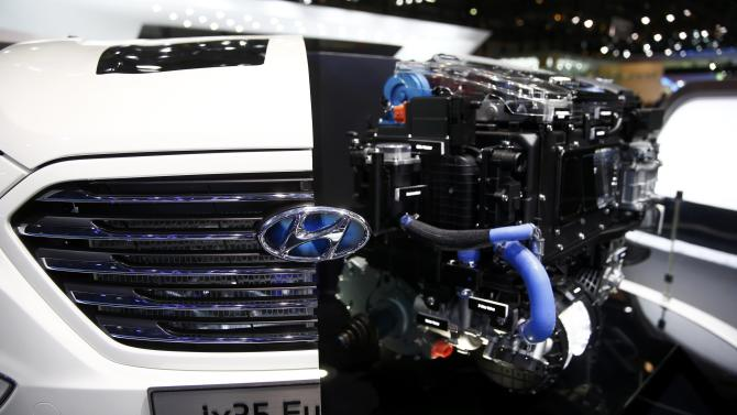The new hydrogen-powered Hyundai Tucson Fuel Cell engine is seen during the second press day ahead of the 85th International Motor Show in Geneva