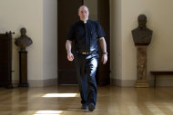 The director of the Sistine Chapel Choir, Monsignor Massimo Paolombella arrives for an interview with The Associated Press, in Rome, Monday, June 25, 2012. The Westminster Abbey Choir, the world-renown chorus which last year performed at the wedding of Prince William and Kate Middleton, will join the Sistine singers at a special papal Mass on Friday in St. Peter's Basilica, a historic event seen as a perfect symbol of Christian harmony _ after centuries of discord. It's the first time in its 500-plus year history that the pope's personal choir will be accompanied by another chorus, let alone one that comes from the breakaway Anglican Church. (AP Photo/Andrew Medichini)