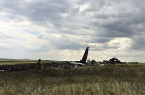 Remnants of a downed Ukrainian army aircraft Il-76…