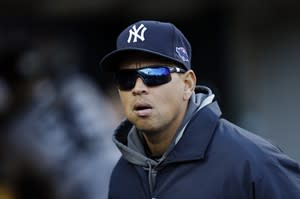 New York Yankees' Alex Rodriguez watches from the dugout in the fourth inning during Game 4 of the American League championship series against the Detroit Tigers Thursday, Oct. 18, 2012, in Detroit. (AP Photo/Paul Sancya )