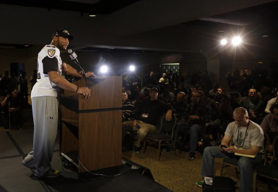 Baltimore Ravens linebacker Ray Lewis speaks at an NFL Super Bowl XLVII football news conference on Wednesday, Jan. 30, 2013, in New Orleans. The Ravens face the San Francisco 49ers in Super Bowl XLVII on Sunday, Feb. 3. (AP Photo/Patrick Semansky)