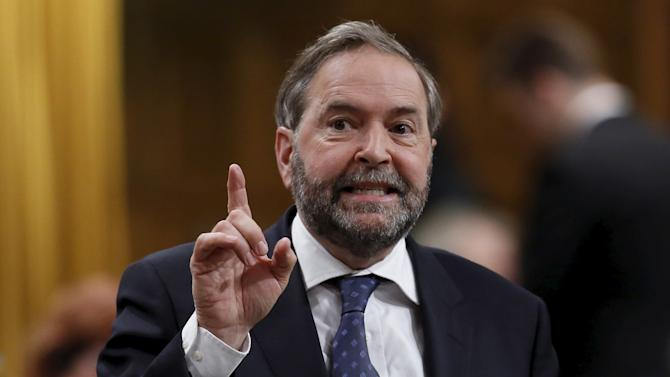 File photo of NDP leader Mulcair speaking in the House of Commons in Ottawa