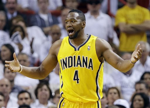 Indiana Pacers forward Sam Young (4) reacts to a foul call during the first half of Game 2 in their NBA basketball Eastern Conference finals playoff series against the Miami Heat, Friday, May 24, 2013
