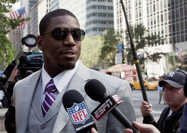 FILE - New Orleans Saints linebacker Jonathan Vilma arrives at the National Football League's headquarters, in this June 18, 2012 file photo taken in New York. Vilma is suing the NFL in federal court,