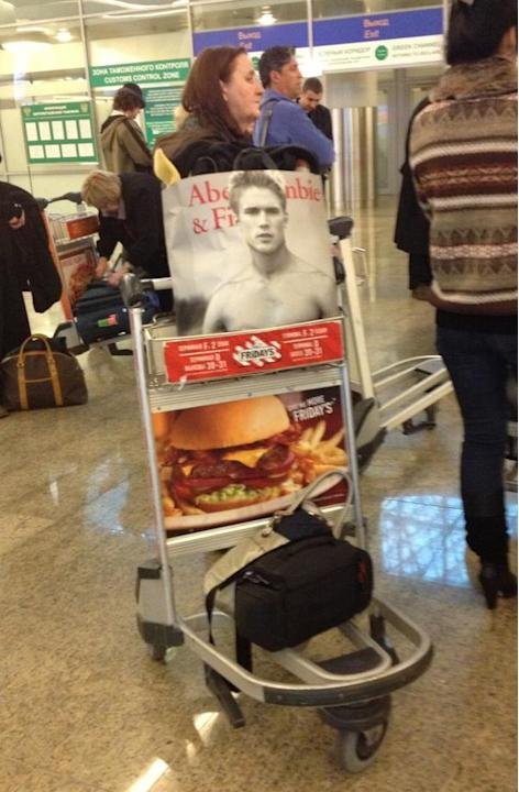 Luggage cart at Moscow airport