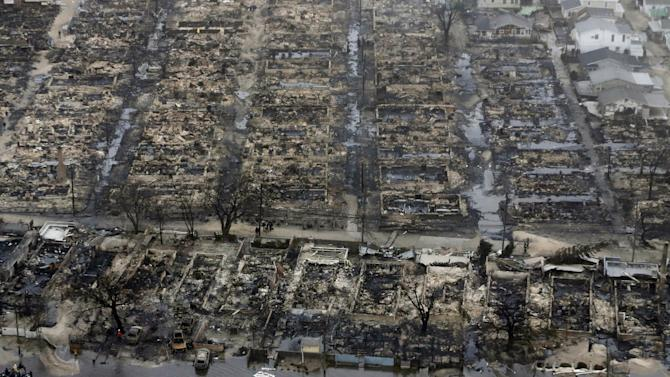"""FILE -  An Oct. 30, 2012, file photo shows an aerial view of burned-out homes in the Breezy Point section of the Queens borough New York after a fire in the beachfront neighborhood  as a result of superstorm Sandy. The current term of the U.S Congress is set to end this week with no action on aid for the superstorm that left more than 100 dead and thousands homeless in three northeast states and lawmakers and officials from the area are furious. New York lawmakers from both parties lashed out at the decision by House Republican leaders not to hold a vote on Sandy aid in the current Congress, calling it a """"betrayal."""" (AP Photo/Mike Groll, File)"""