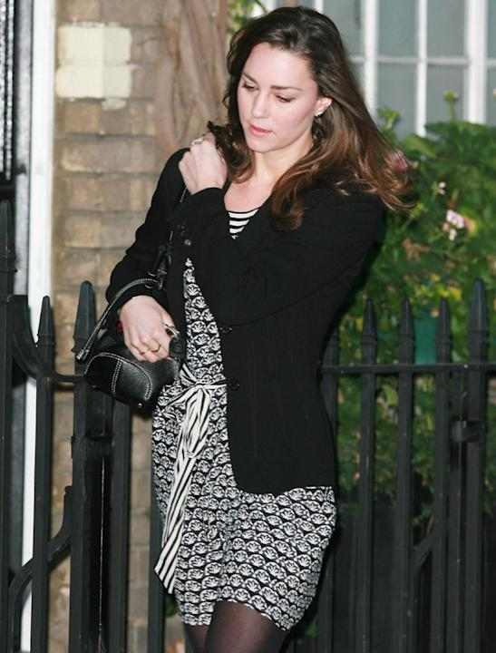 Kate Middleton photos: BP, (Before Prince,) Kate could rock shorter skirts and be more playful with clashing prints and attempt to avoid the paps. These days it's longer hemlines and relishing the cam