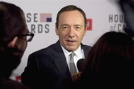 "Actor Kevin Spacey speaks with the media at the premiere of Netflix's television series ""House of Cards"" at Alice Tully Hall in the Lincoln Center in New York City."