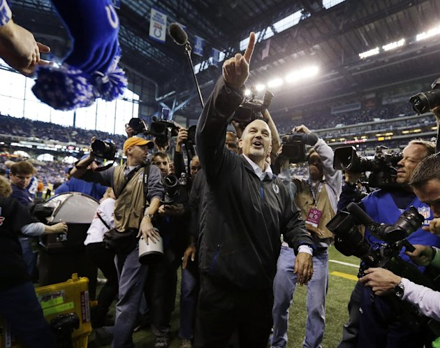 Indianapolis Colts head coach Chuck Pagano acknowledges the fans after the Colts defeated the Houston Texans, 28-16, in an NFL football game, Sunday, Dec. 30, 2012, in Indianapolis. (AP Photo/Michael