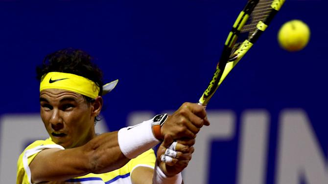 Spain's Nadal plays a shot during his tennis match against Argentina's Monaco at the ATP Argentina Open in Buenos Aires