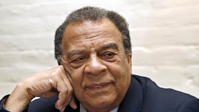 In this Oct. 21, 2013 photo, civil rights leader and former UN Ambassador Andrew Young Jr. listens to a reporter's question during an interview in New York. There is a lawsuit filed by Rev. Martin Luther King's sons, Martin Luther King III and Dexter King. The estate's suit asks that The Martin Luther King Jr. Center for Nonviolent Social Change, which is run by King's daughter, Bernice, and where Young is a member of the board, be stopped from using King's image and likeness unless certain conditions are met. Among those conditions is that Young be removed from the center's board of directors over allegations that he used footage of King in a documentary without permission. (AP Photo/Kathy Willens)