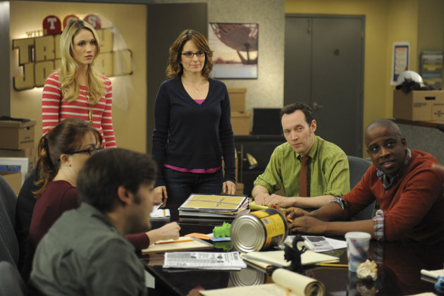"30 ROCK -- ""Part 1: Hogcock! Part 2: Last Lunch"" Episode 712/713 -- Pictured: (l-r) Katrina Bowden as Cerie, Tina Fey as Liz Lemon, Keith Powell as Toofer"