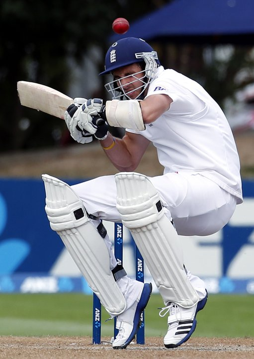 England's Finn tries to avoid a bouncer bowled by New Zealand's Southee during the fifth day of the first test in Dunedin