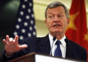 U.S. Ambassador to China Max Baucus speaks at a luncheon with U.S. business leaders in China, at a hotel in Beijing