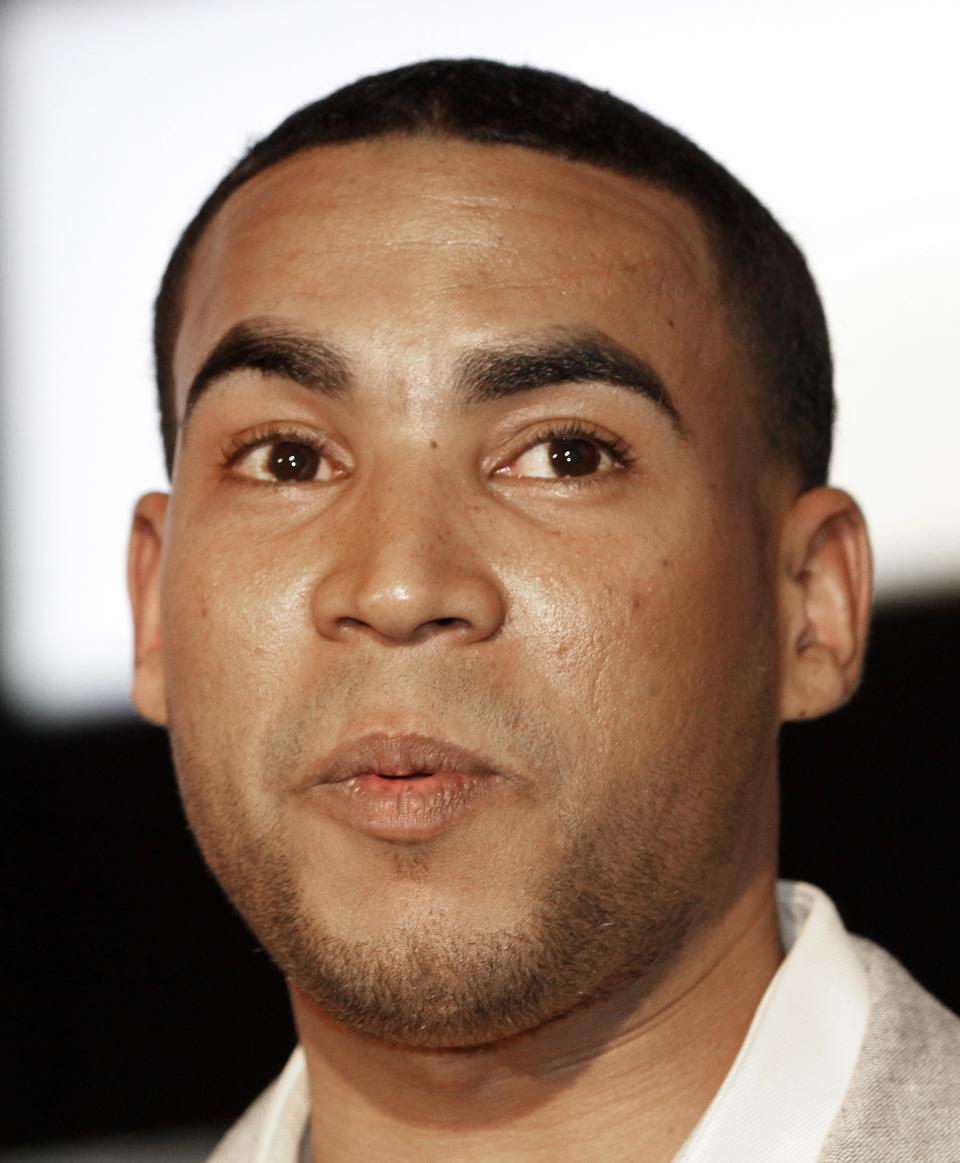 Puerto Rican reggaeton singer-rapper Don Omar arrives for an interview in Miami, Tuesday, April 24, 2012. Don Omar is the is the leading finalist in the 2012 Billboard Latin Music Awards. (AP Photo/Alan Diaz)