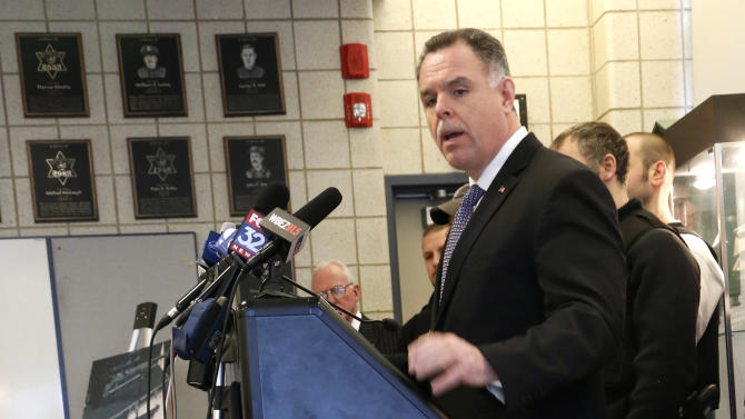 Chicago Police Superintendent Garry McCarthy stands near guns confiscated in Chicago and talks about the department's efforts to curb gun violence during a news conference Monday, Feb. 4, 2013, in Chicago. Police say they are receiving many tips as they investigate last week's shooting death of a 15-year-old Hadiya Pendleton. But there is also a concern that people with valuable information may not be coming forward and others wonder if people are staying silent out of concern that talking might put their own lives in danger. (AP Photo/Charles Rex Arbogast)