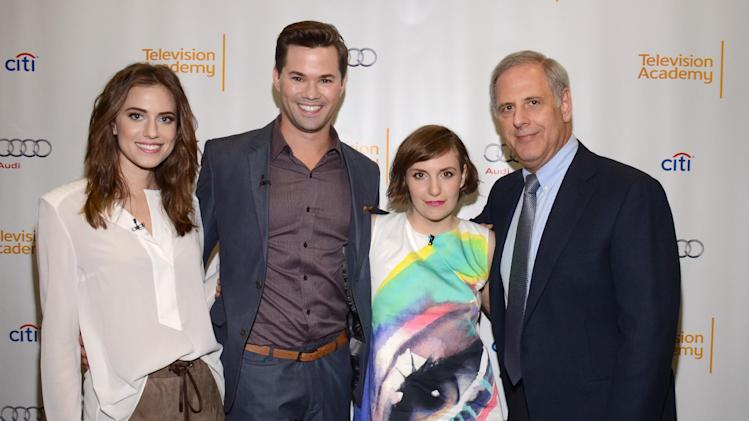 "EXCLUSIVE - Allison Williams, Andrew Rannells, Lena Dunham and Kevin Hamburger, vice chair of Television Academy, attend ""An Evening with GIRLS"" on Thursday, March 13, 2014, at the Television Academy in the NoHo Arts District in Los Angeles. (Photo by Tonya Wise/Invision for the Television Academy/AP Images)."