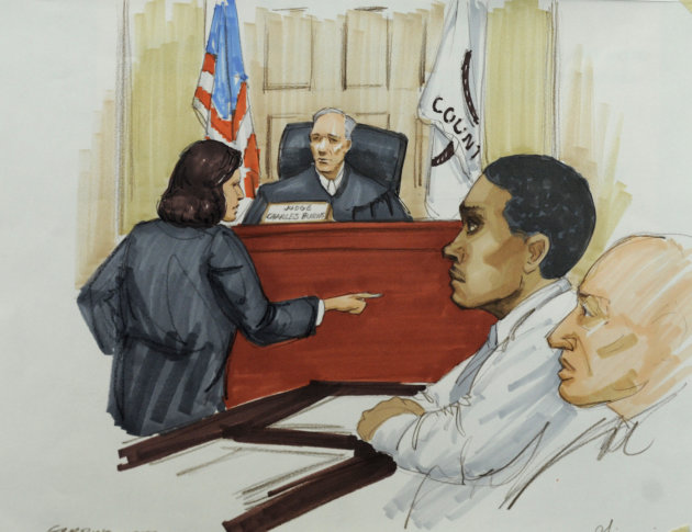 In this courtroom sketch, Willam Balfour, second from right, listens as Assistant State's Attorney Veryl Gambino gives opening statements before Cook County Judge Charles Burns at Balfour's murder tri