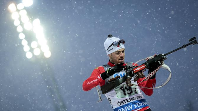 Canada's Smith in action during the single mixed relay event at the IBU Biathlon World Cup in Ostersund
