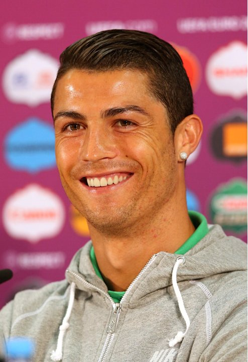 In This Handout Image Provided By UEFA, Portugal's Forward Cristiano Ronaldo Takes Part In A Press Conference On The  AFP/Getty Images