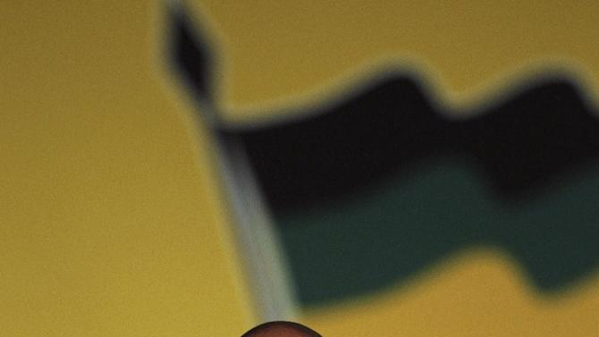 African National Congress (ANC) re-elected President Jacob Zuma, during his party's elective conference at the University of the Free State in Bloemfontein, South Africa, on Tuesday, Dec. 18, 2012. South Africa's governing African National Congress voted overwhelmingly Tuesday to keep President Jacob Zuma as the head of the nation's dominant political force, more than likely guaranteeing the politician another five years in the country's presidency. Zuma trounced Deputy President Kgalema Motlanthe, his only challenger who ran a largely muted and reluctant campaign, getting 2,983 votes to Motlanthe's 991. A smiling Zuma came to the stage immediately after the announcement, waving at the cheering crowd with both hands. (AP Photo/Themba Hadebe)