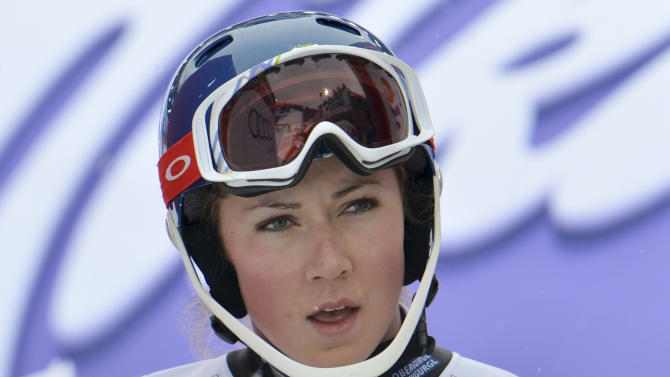 United States' MikaelaShiffrin looks at the scoreboard after the first run of the women's slalom at the Alpine skiing world championships in Schladming, Austria, Saturday, Feb. 16, 2013. (AP Photo/Kerstin Joensson)