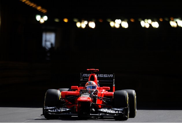 Marussia F1 Team's German driver Timo Glock drives during first practice session at the Circuit de Monaco on May 24, 2012 in Monte Carlo ahead of the Monaco Formula One Grand Prix.      AFP PHOTO / JE