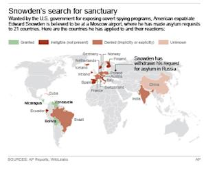 Map locates where Edward Snowden has applied for asylum; 3c x 4 inches; 146 mm x 101 mm;