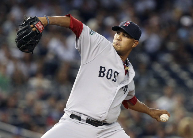 Boston Red Sox&#39;s Felix Doubront pitches during the first inning of a baseball game against the New York Yankees at Yankee Stadium in New York, Sunday, July 29, 2012. (AP Photo/Seth Wenig)