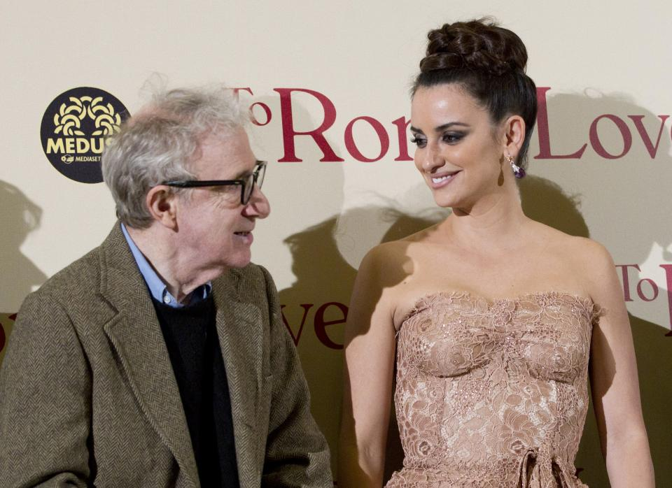 "WAIT FOR STORY - FILE - From left, actor and director Woody Allen, and actors, Penelope Cruz and Roberto Benigni pose on the red carpet of the movie ""To Rome with Love"", in Rome, Friday, April 13, 2012. (AP Photo/Andrew Medichini)"